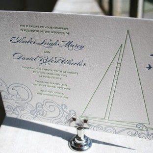 Sailboat Letterpress Invitations by Bella Figura