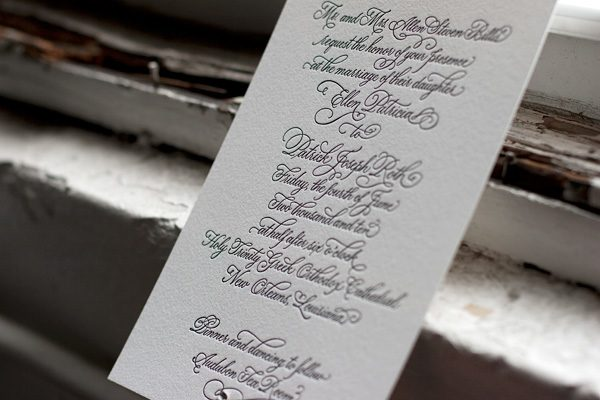 Victoria calligraphy letterpress wedding invitations