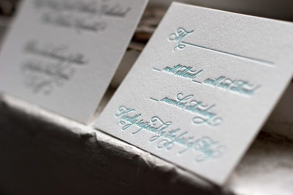 Victoria Calligraphy Letterpress Reply Card by Bella Figura