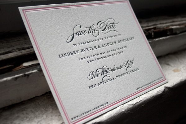 Custom Letterpress Save the Date