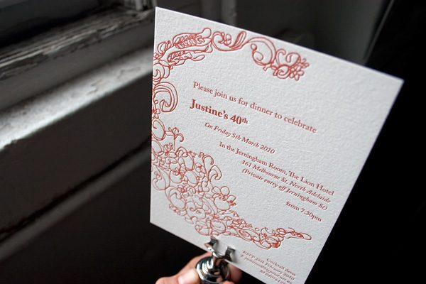 Flourish Letterpress Birthday Party Invitation