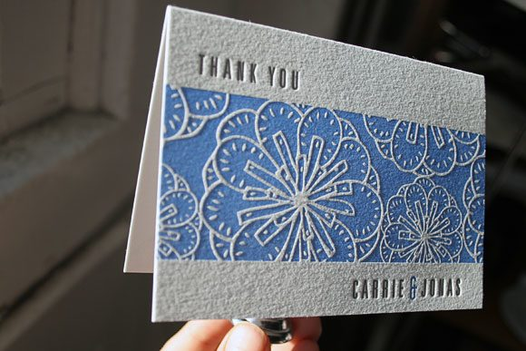 Nigella Letterpress Thank You Card