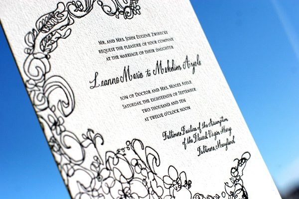 Flourish Wedding Invitations: Flourish Letterpress Wedding Invitation
