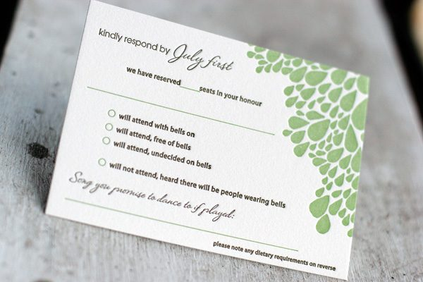 Wedding Invitation Reply Card: Cool Letterpress Reply Card Ideas