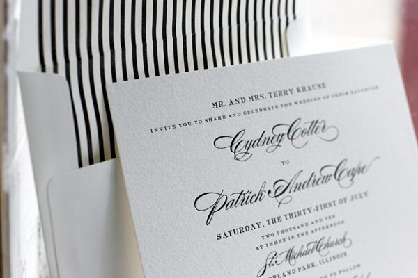 Deveril Letterpress Invitations With DIY Liners