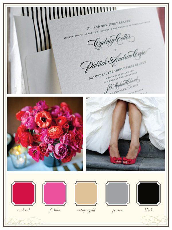Wedding Color Palettes - Chic Deveril + Fuchsia - Bella Figura