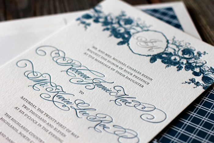 mediterranean and pewter invitation