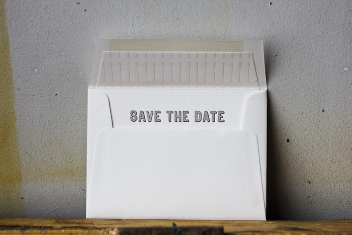 contemporary chic save the date card
