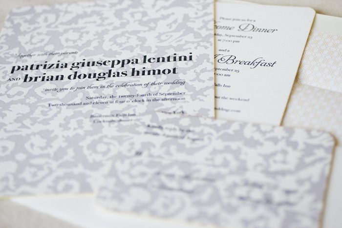 whimsical letterpress wedding invitation