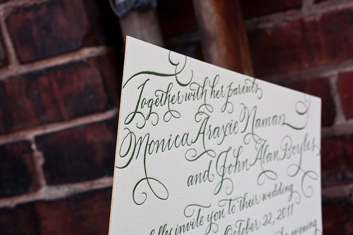 hand calligraphy letterpress wedding invitations