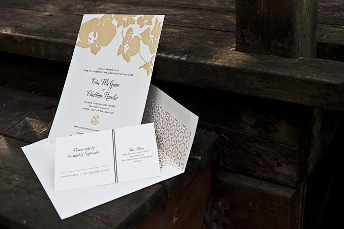 tropical chic letterpress wedding invitations