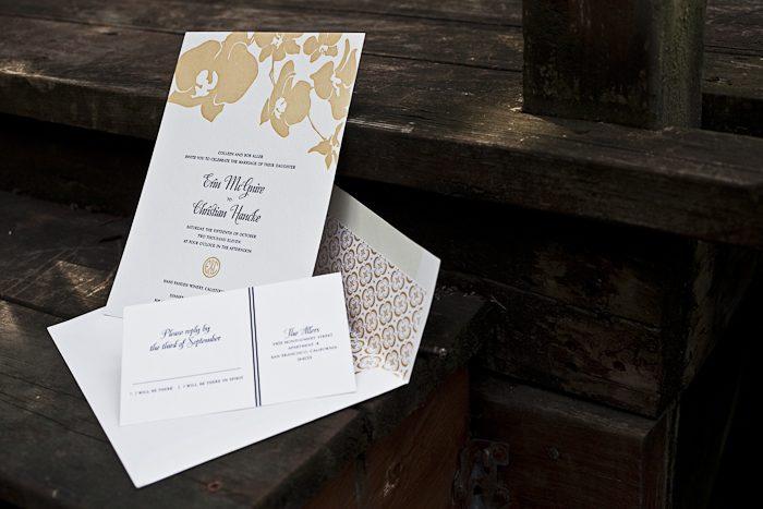 tropical chic letterpress wedding invitations