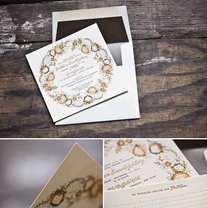 whimsical letterpress bridal shower invitations