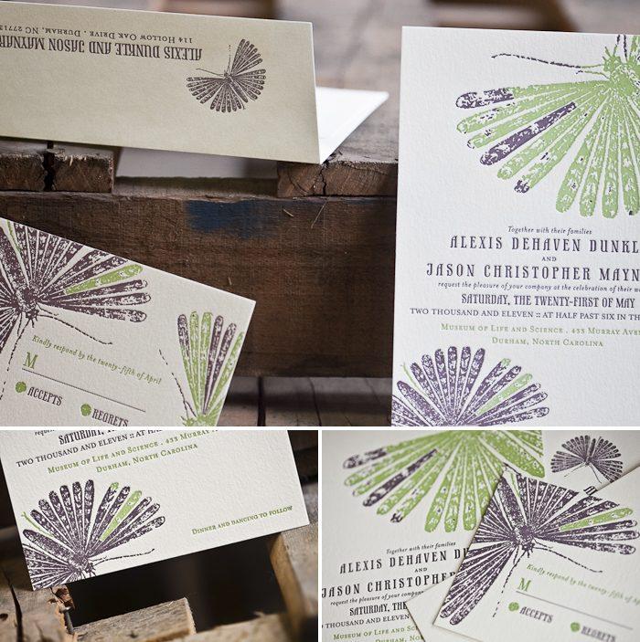 nature inspired letterpress wedding invitations