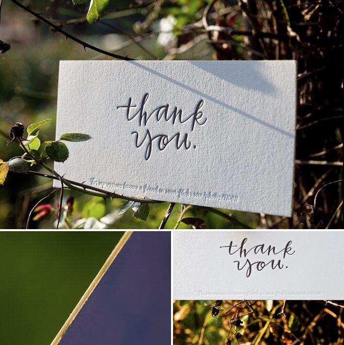 custom calligraphy letterpress thank you
