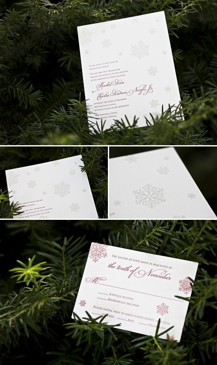 winter lettepress wedding invitations