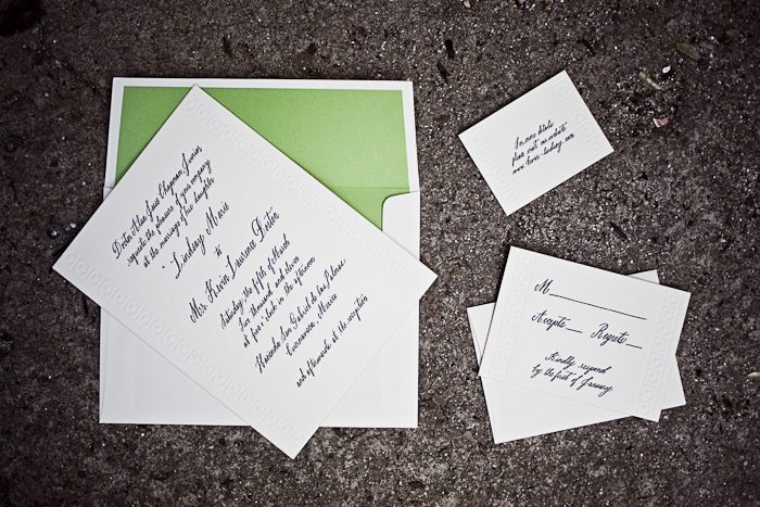 Fresh Palmas Letterpress Invitations Featuring Belle Hand