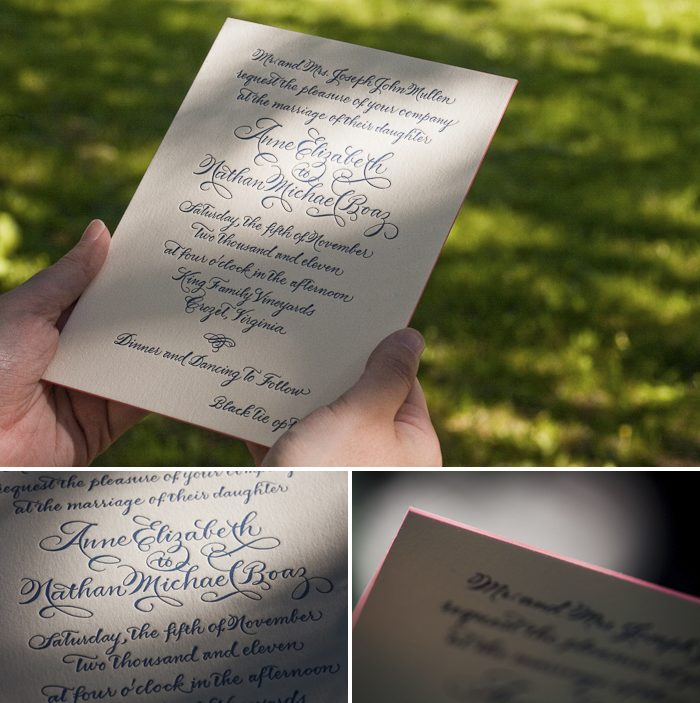calligraphy letterpress wedding invitations