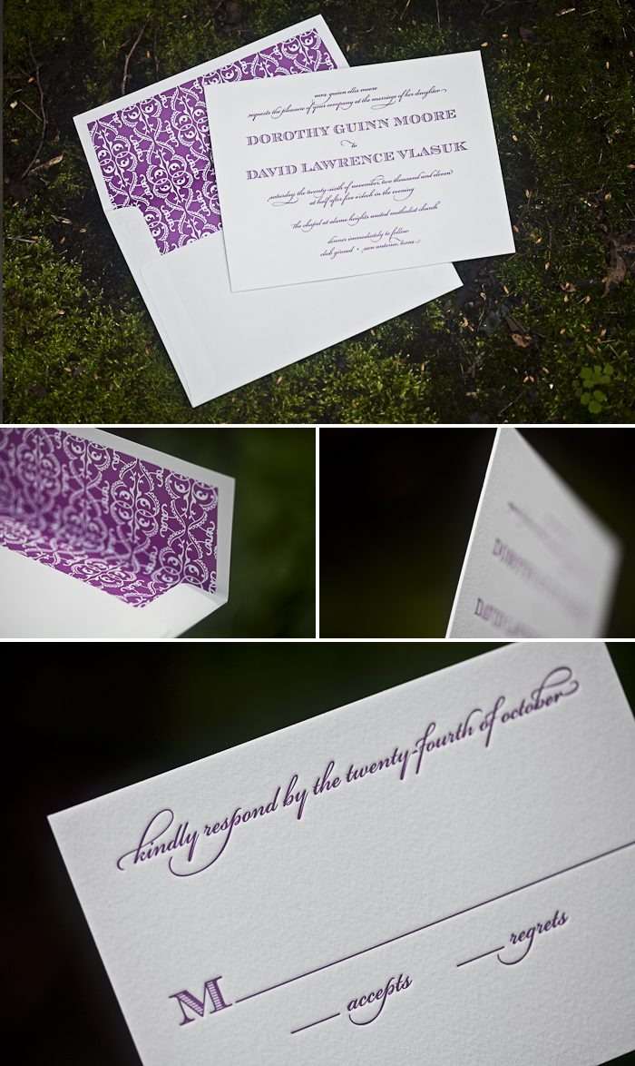 vibrant vintage letterpress wedding invitations