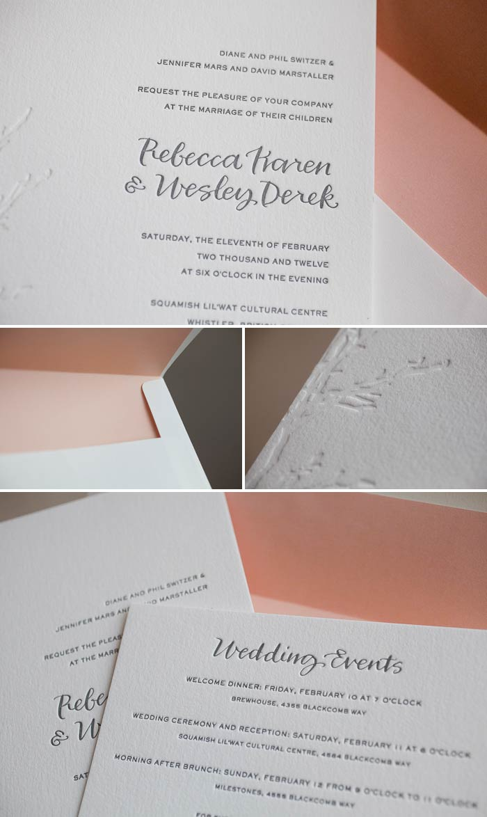 sophisticated and sweet letterpress wedding invitations