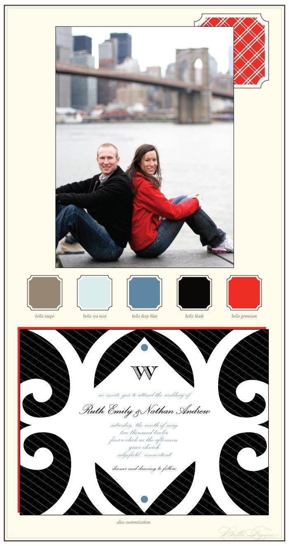 modern urban letterpress wedding invitations