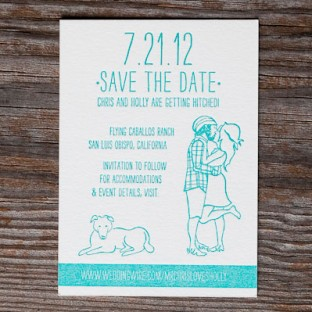 vibrant and whimsical summer letterpress save the date
