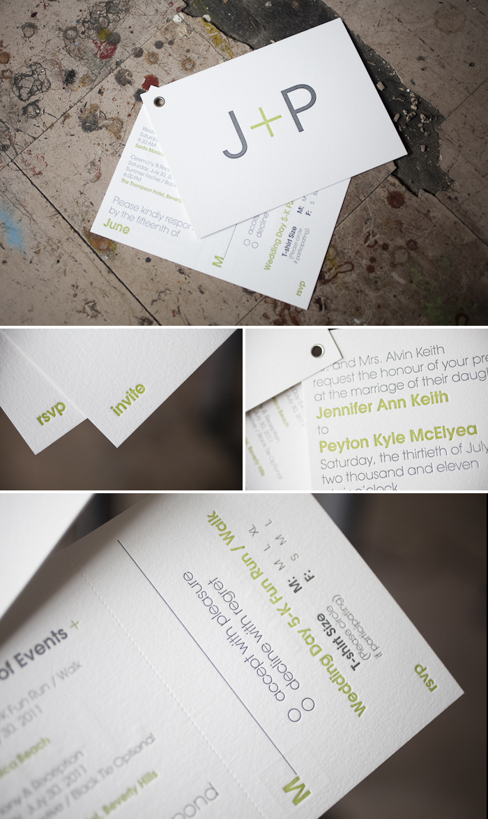 modern and slick letterpress invitation booklets