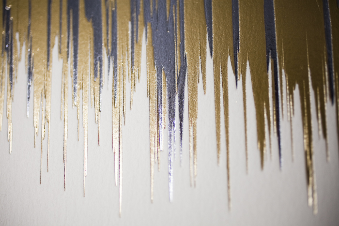 Fugue, a new design by Kamal for Bella Figura, is foil stamped in silver and gold
