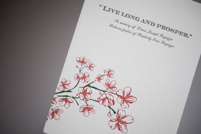 vibrant floral letterpress program covers