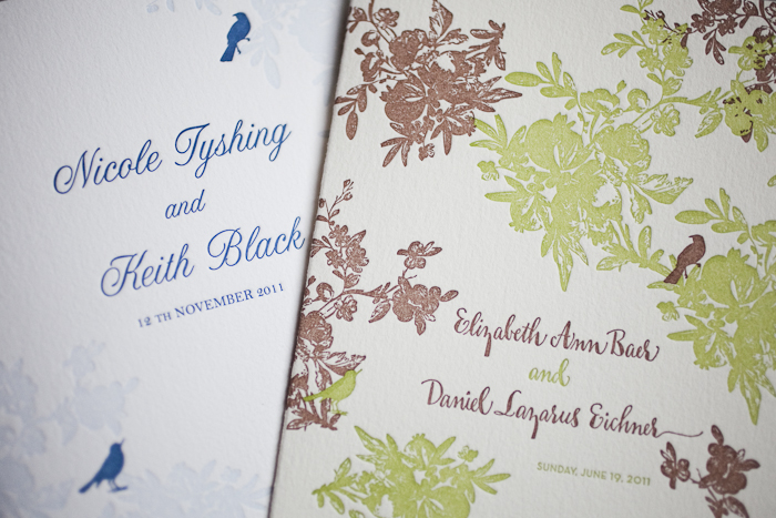 vintage vendage letterpress wedding programs