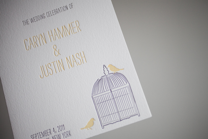 whimsical and fun lettepress wedding programs
