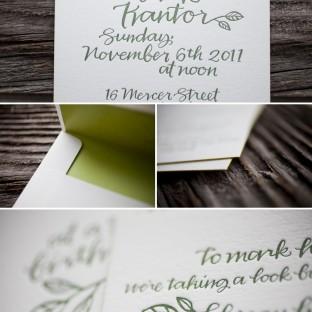 surprise letterpress calligraphy birthday invitations
