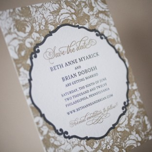 modern romantic calligraphy letterpress save the dates