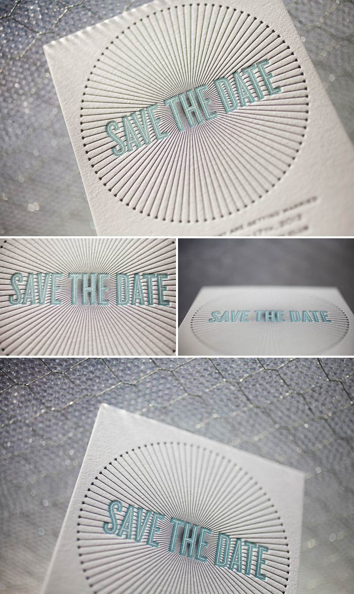 winter inspired letterpress save the dates
