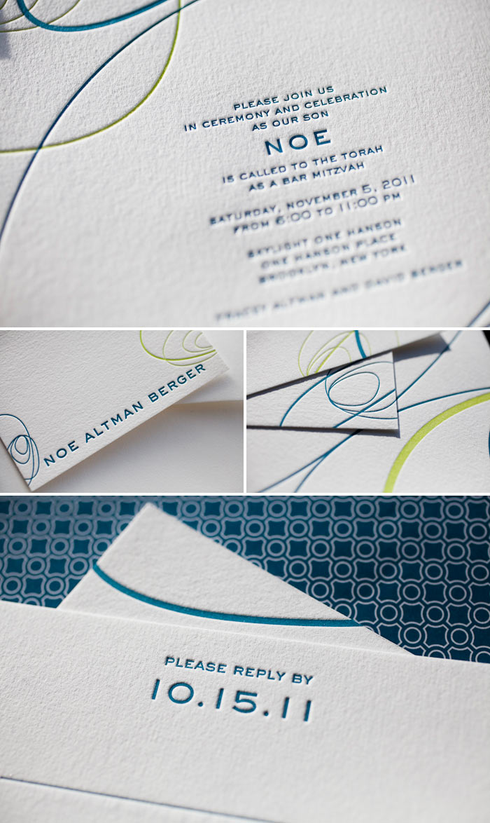 colorful letterpress bar mitzvah invitation