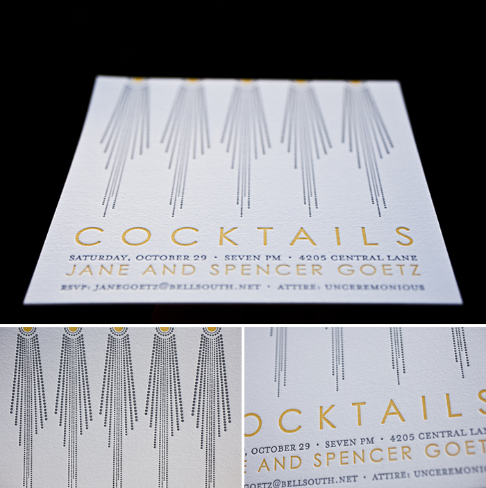 dazzling letterpress cocktail invitations