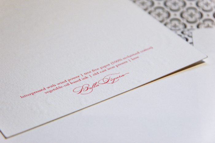 Bella Figura offers free printing on the back of their invitations to include eco-specs that let invitation recipients know that the sender has the environment in mind.