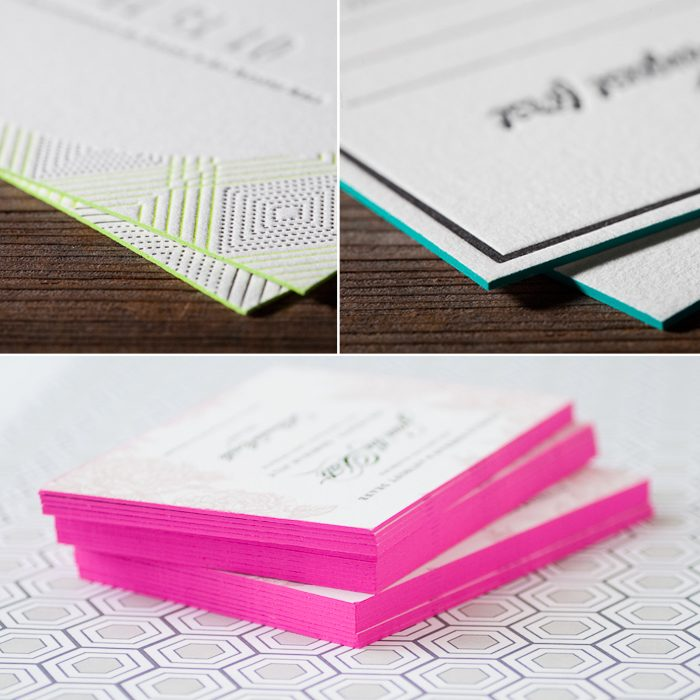 Edge painting is an embellishment option available to add an extra burst of color to Bella Figura's letterpress wedding invitations & stationery.