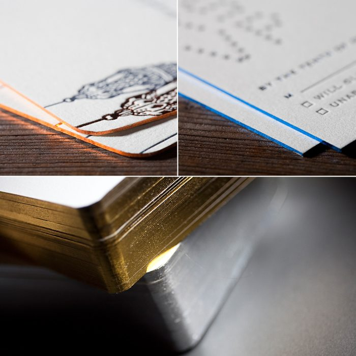 Foil edging is a fabulous new embellishment option available at Bella Figura, and adds a metallic sheen to the edge of any letterpress invitation