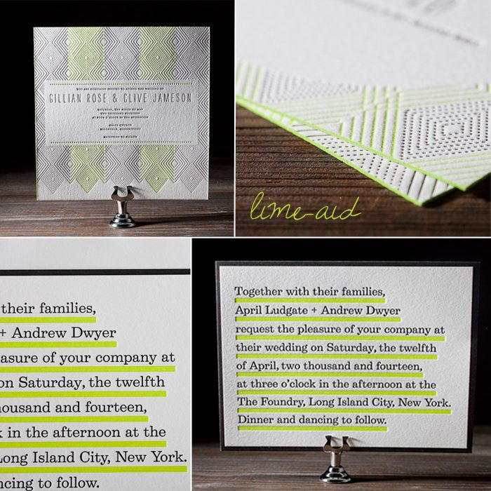Lime-aid, a yellow-green neon ink, is a new letterpress ink color from Bella Figura for 2012