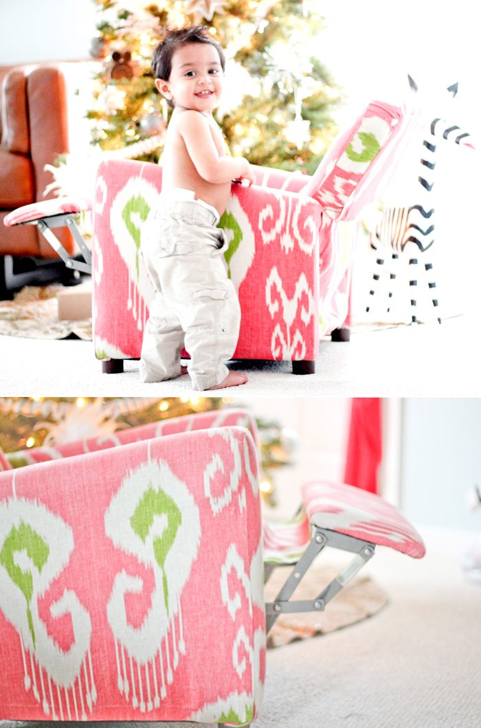 An Ikat chair that was upholstered by Kamal's mother for her daughter
