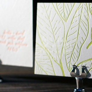 Letterpress reply postcards from Bella Figura are an eco-friendly and economical choice as they are more cost efficient and create less paper waste than a traditional reply card with envelope.