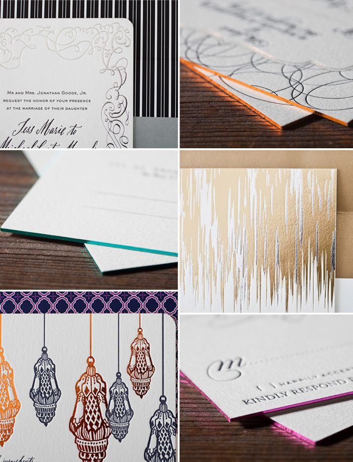 An assortment of foil stamped and foil edged pieces from Bella Figura