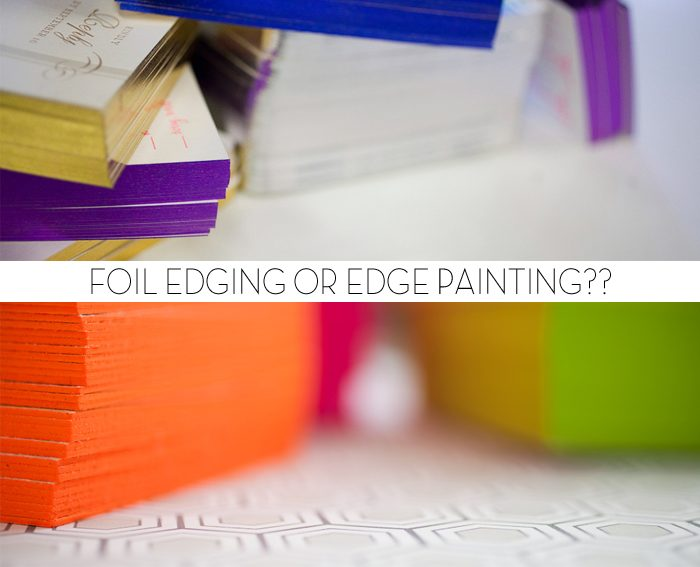 Bella Figura has added foil edging as a new embellishment option for 2012 -- this post will help you figure out how to choose