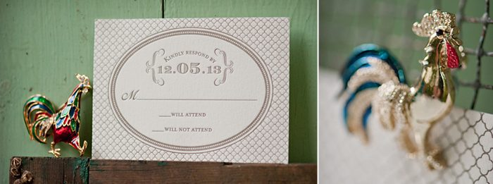 A vintage, frame-inspired letterpress invitation from Bella Figura