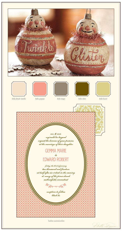 christmas inspired letterpress wedding invitation ideas
