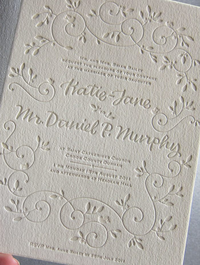 This letterpress wedding invitation from Bella Figura features the Hendrix 2 design and has reply information printed on the bottomo of the invitation to cut down on paper waste.
