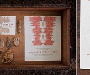 An ikat fabric-based invitation designed by Kamal for Bella Figura