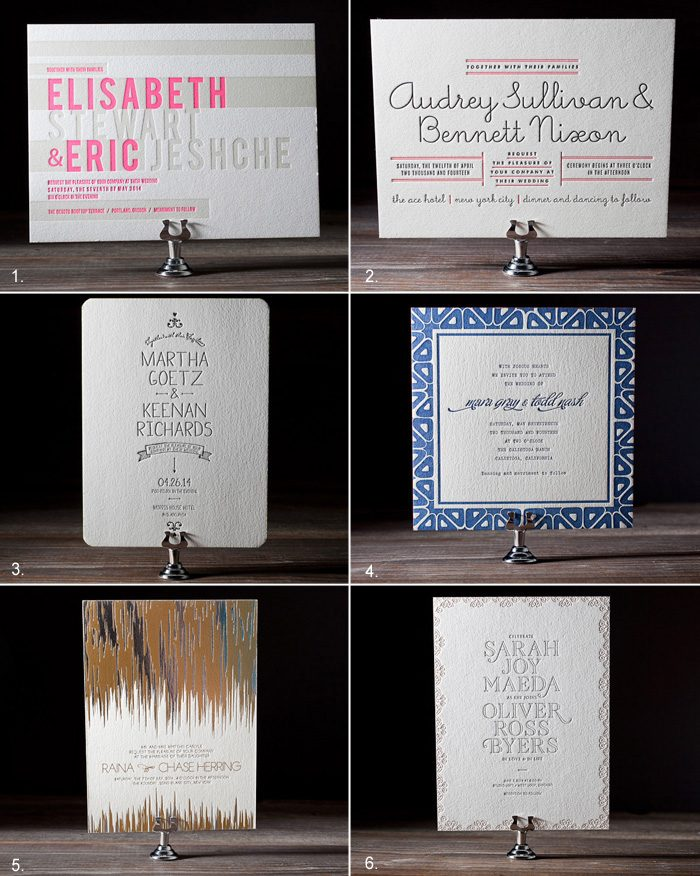 The top 6 modern letterpress and foil stamped designs for Bella Figura in 2012