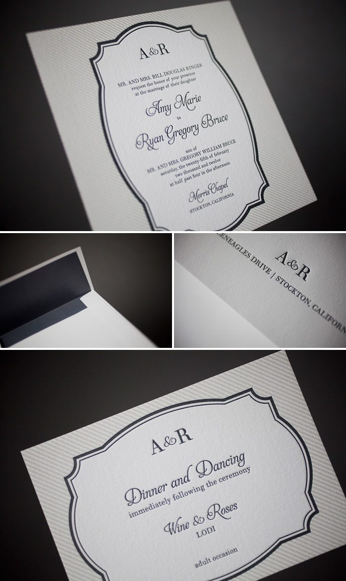 modern and slick letterpress wedding invitations